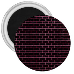 Brick1 Black Marble & Pink Denim (r) 3  Magnets by trendistuff