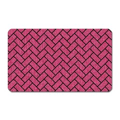Brick2 Black Marble & Pink Denim Magnet (rectangular) by trendistuff