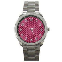Brick2 Black Marble & Pink Denim Sport Metal Watch by trendistuff