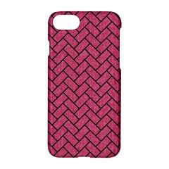 Brick2 Black Marble & Pink Denim Apple Iphone 7 Hardshell Case by trendistuff