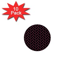 Brick2 Black Marble & Pink Denim (r) 1  Mini Buttons (10 Pack)  by trendistuff