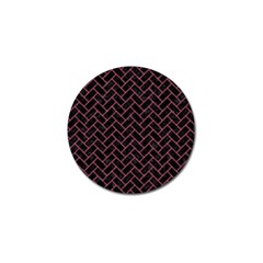 Brick2 Black Marble & Pink Denim (r) Golf Ball Marker by trendistuff