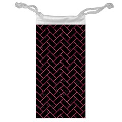 Brick2 Black Marble & Pink Denim (r) Jewelry Bag by trendistuff