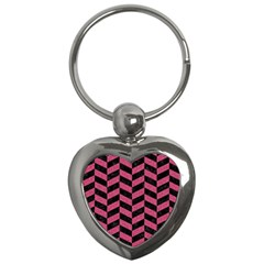 Chevron1 Black Marble & Pink Denim Key Chains (heart)  by trendistuff