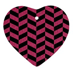 Chevron1 Black Marble & Pink Denim Heart Ornament (two Sides) by trendistuff