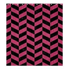 Chevron1 Black Marble & Pink Denim Shower Curtain 66  X 72  (large)  by trendistuff