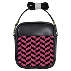 Chevron1 Black Marble & Pink Denim Girls Sling Bags by trendistuff