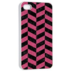 Chevron1 Black Marble & Pink Denim Apple Iphone 4/4s Seamless Case (white) by trendistuff