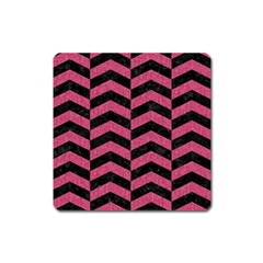 Chevron2 Black Marble & Pink Denim Square Magnet by trendistuff