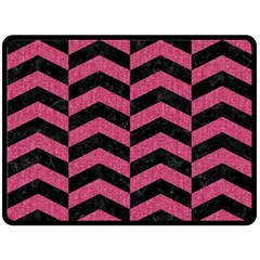 Chevron2 Black Marble & Pink Denim Fleece Blanket (large)  by trendistuff