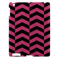 Chevron2 Black Marble & Pink Denim Apple Ipad 3/4 Hardshell Case by trendistuff