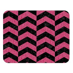 Chevron2 Black Marble & Pink Denim Double Sided Flano Blanket (large)  by trendistuff