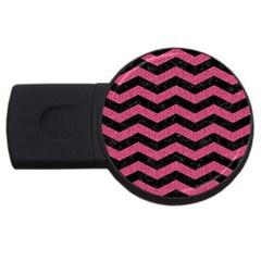 Chevron3 Black Marble & Pink Denim Usb Flash Drive Round (4 Gb) by trendistuff