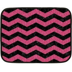 Chevron3 Black Marble & Pink Denim Fleece Blanket (mini) by trendistuff