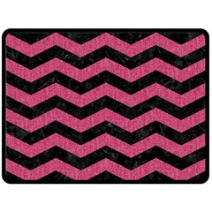 Chevron3 Black Marble & Pink Denim Double Sided Fleece Blanket (large)  by trendistuff