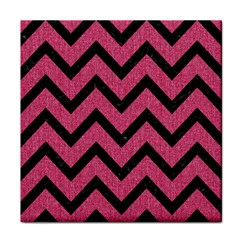 Chevron9 Black Marble & Pink Denim Tile Coasters