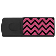 Chevron9 Black Marble & Pink Denim Rectangular Usb Flash Drive by trendistuff
