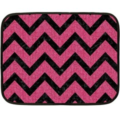 Chevron9 Black Marble & Pink Denim Fleece Blanket (mini) by trendistuff