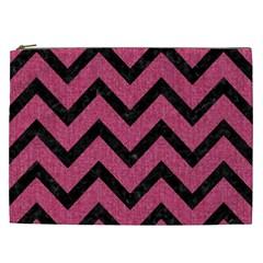 Chevron9 Black Marble & Pink Denim Cosmetic Bag (xxl)  by trendistuff
