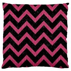 Chevron9 Black Marble & Pink Denim (r) Standard Flano Cushion Case (one Side) by trendistuff