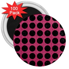 Circles1 Black Marble & Pink Denim 3  Magnets (100 Pack) by trendistuff