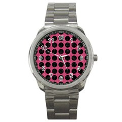 Circles1 Black Marble & Pink Denim Sport Metal Watch by trendistuff