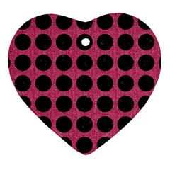 Circles1 Black Marble & Pink Denim Heart Ornament (two Sides) by trendistuff