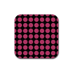 Circles1 Black Marble & Pink Denim (r) Rubber Square Coaster (4 Pack)  by trendistuff