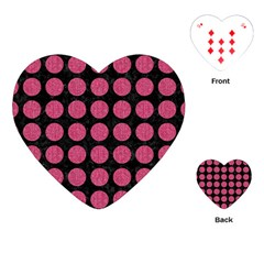 Circles1 Black Marble & Pink Denim (r) Playing Cards (heart)  by trendistuff