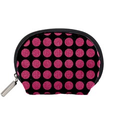 Circles1 Black Marble & Pink Denim (r) Accessory Pouches (small)  by trendistuff