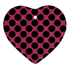 Circles2 Black Marble & Pink Denim Heart Ornament (two Sides) by trendistuff