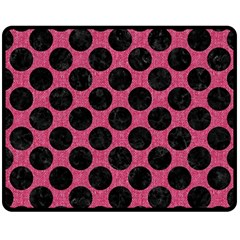 Circles2 Black Marble & Pink Denim Double Sided Fleece Blanket (medium)  by trendistuff