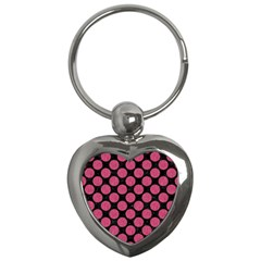 Circles2 Black Marble & Pink Denim (r) Key Chains (heart)  by trendistuff