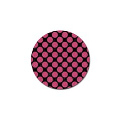 Circles2 Black Marble & Pink Denim (r) Golf Ball Marker by trendistuff
