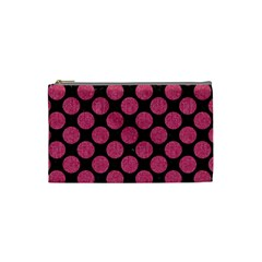 Circles2 Black Marble & Pink Denim (r) Cosmetic Bag (small)  by trendistuff