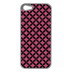 Circles3 Black Marble & Pink Denim Apple Iphone 5 Case (silver) by trendistuff