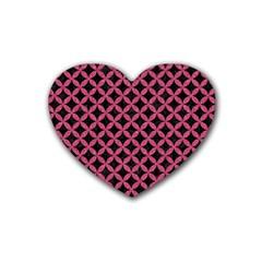 Circles3 Black Marble & Pink Denim (r) Rubber Coaster (heart)  by trendistuff