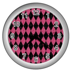 Diamond1 Black Marble & Pink Denim Wall Clocks (silver)  by trendistuff