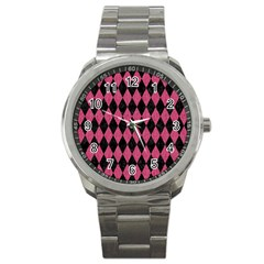 Diamond1 Black Marble & Pink Denim Sport Metal Watch by trendistuff