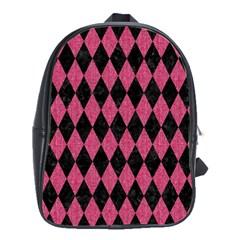 Diamond1 Black Marble & Pink Denim School Bag (large) by trendistuff