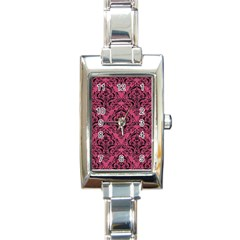 Damask1 Black Marble & Pink Denim Rectangle Italian Charm Watch by trendistuff