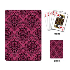Damask1 Black Marble & Pink Denim Playing Card by trendistuff