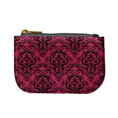 Damask1 Black Marble & Pink Denim Mini Coin Purses by trendistuff