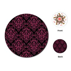 Damask1 Black Marble & Pink Denim (r) Playing Cards (round)  by trendistuff