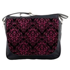Damask1 Black Marble & Pink Denim (r) Messenger Bags by trendistuff