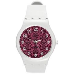 Damask2 Black Marble & Pink Denim Round Plastic Sport Watch (m)