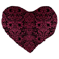 Damask2 Black Marble & Pink Denim (r) Large 19  Premium Heart Shape Cushions by trendistuff