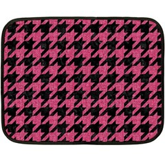 Houndstooth1 Black Marble & Pink Denim Fleece Blanket (mini) by trendistuff