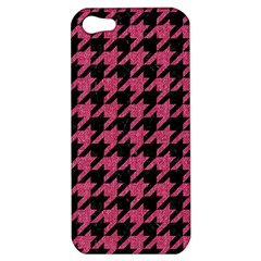 Houndstooth1 Black Marble & Pink Denim Apple Iphone 5 Hardshell Case by trendistuff