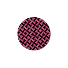 Houndstooth2 Black Marble & Pink Denim Golf Ball Marker by trendistuff